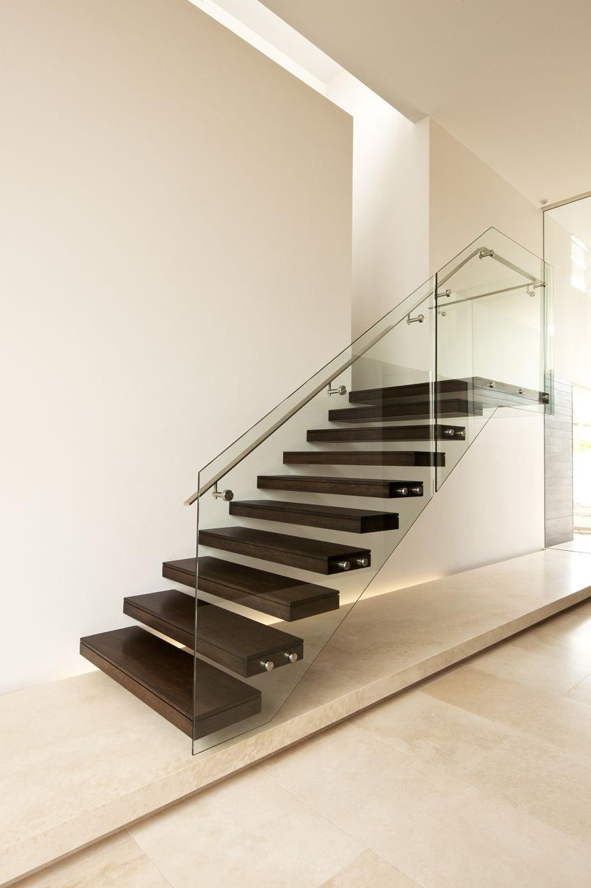 American Oak Modern Stair Glass Steel