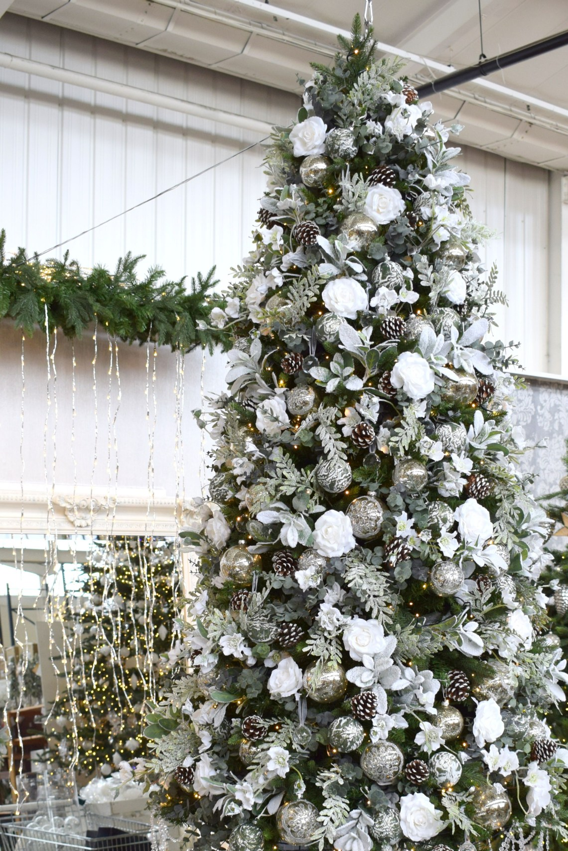 Artificial Frosted Christmas Tree Decorated With White