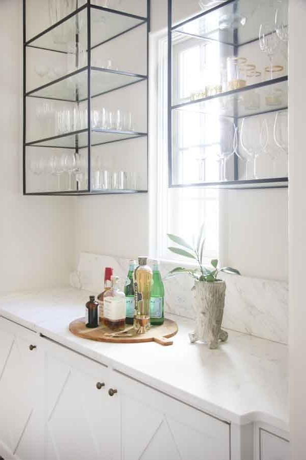 Bar With Custom Iron Glass Cabinets Lisa Sherry