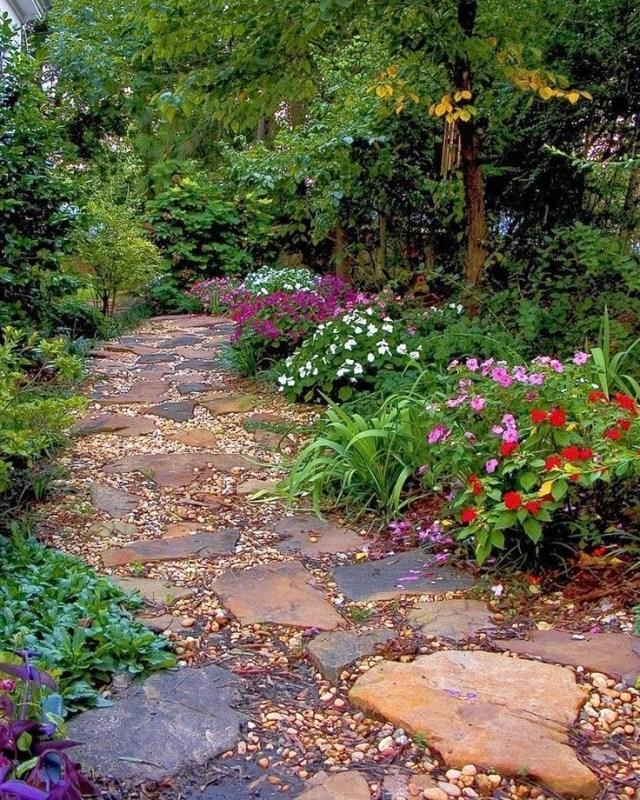 Beautiful Stone Path Rustic Looking Garden Ideas