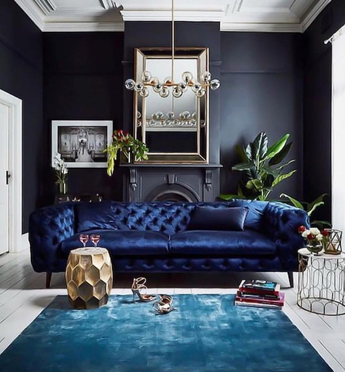 Black Living Room With Sapphire Furnishings Black Living