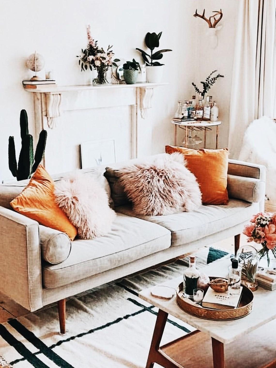 Boho Living Room With Cactus Orange And Blush Throw