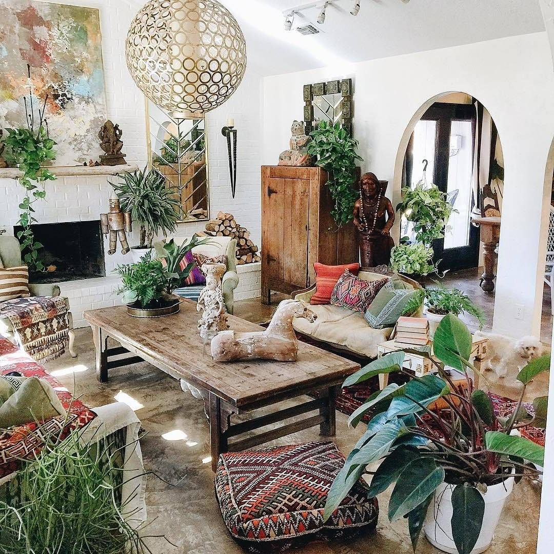 Boho Plant Styling Bohemian Living Rooms Bohemian
