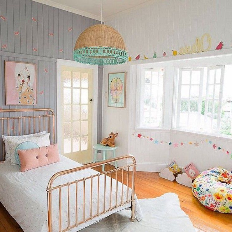 Bright Girls Room With Copper Bed Remodel Bedroom Kids