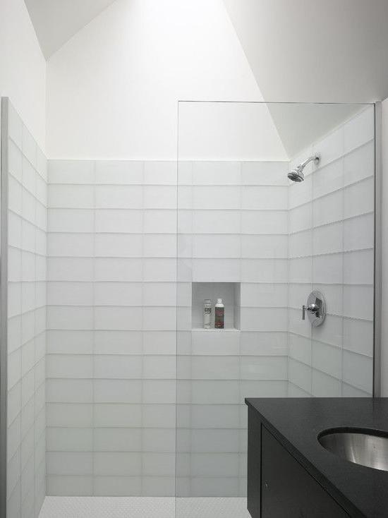 Bright Modern Bathroom White Tile Shower Backsplash Randall Street Residence White Bathroom