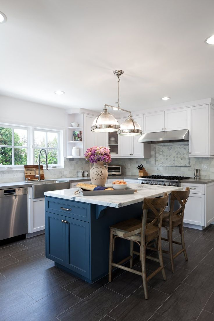 Check Out The Blue Island White Cabinets And Dark Blue
