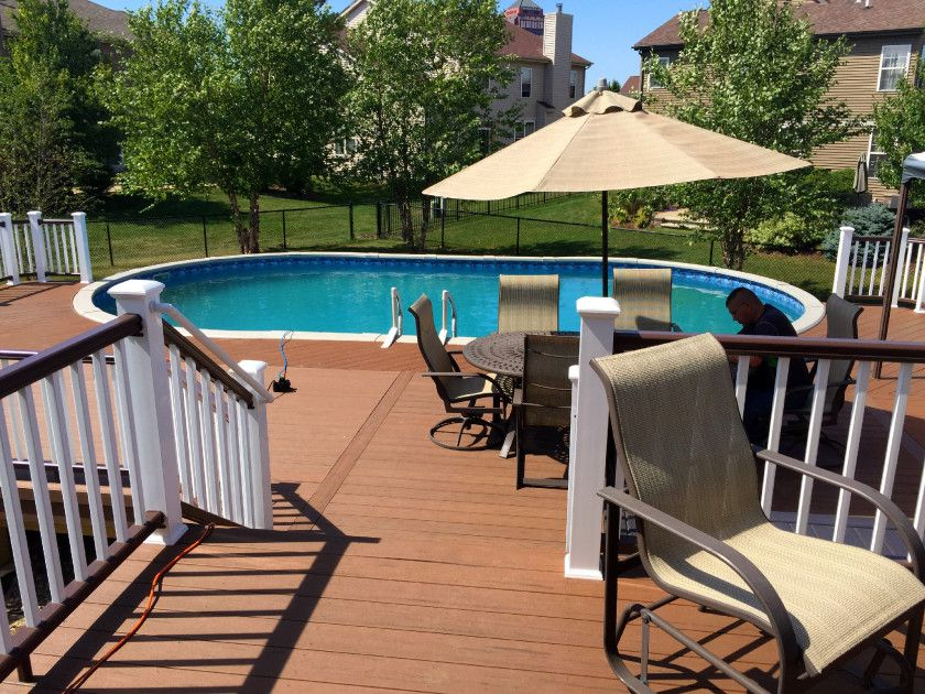 Composite Pool Deck With Timbertech Brown Oak Backyard