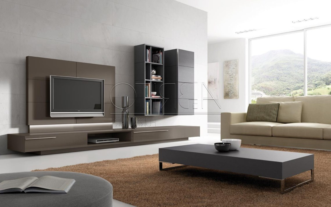 Contemporary Tv Wall Unit For Living Room With Bookcase