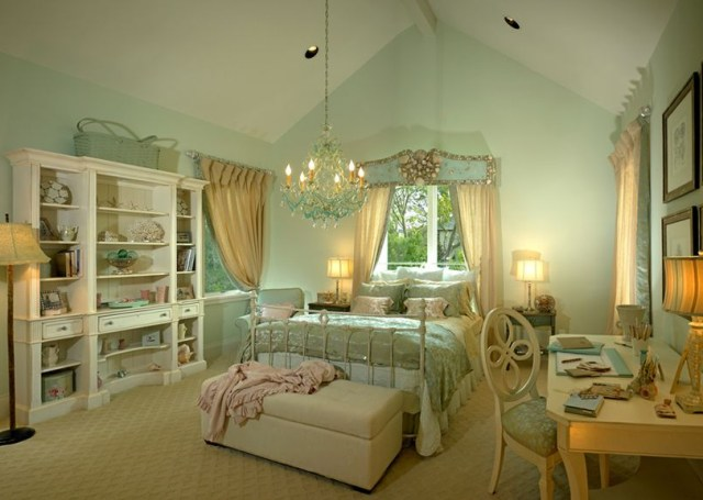 Country French Style Bedroom In Soft Mint Green French