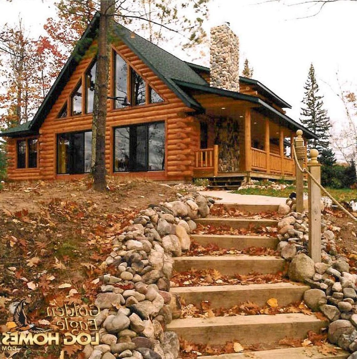 Custom Plan 2 Exterior View Log Homes Exterior Log