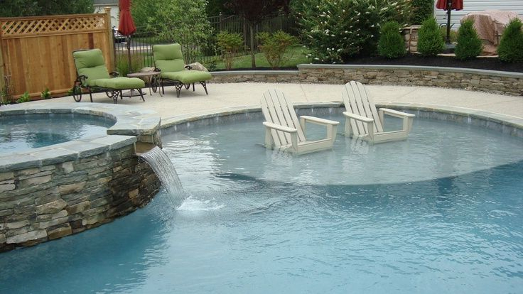 Custom Swimming Pool With Sun Shelf And Raised Spa