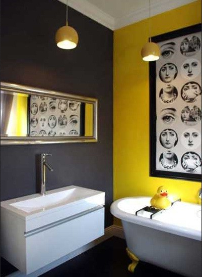 Dark And Bright Colors Bathroom Paint