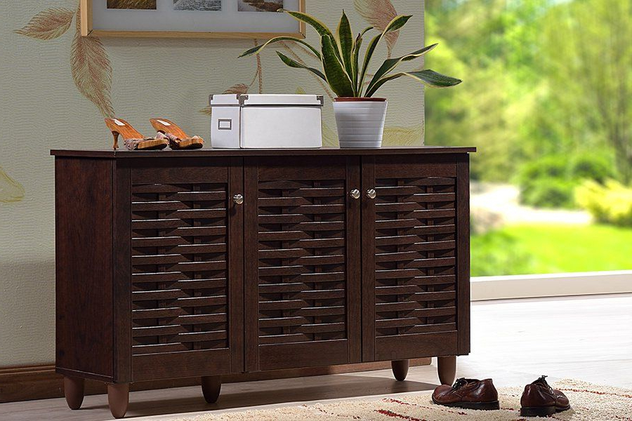 Dark Brown 3 Door Shoe Storage Cabinet Winda Shoe