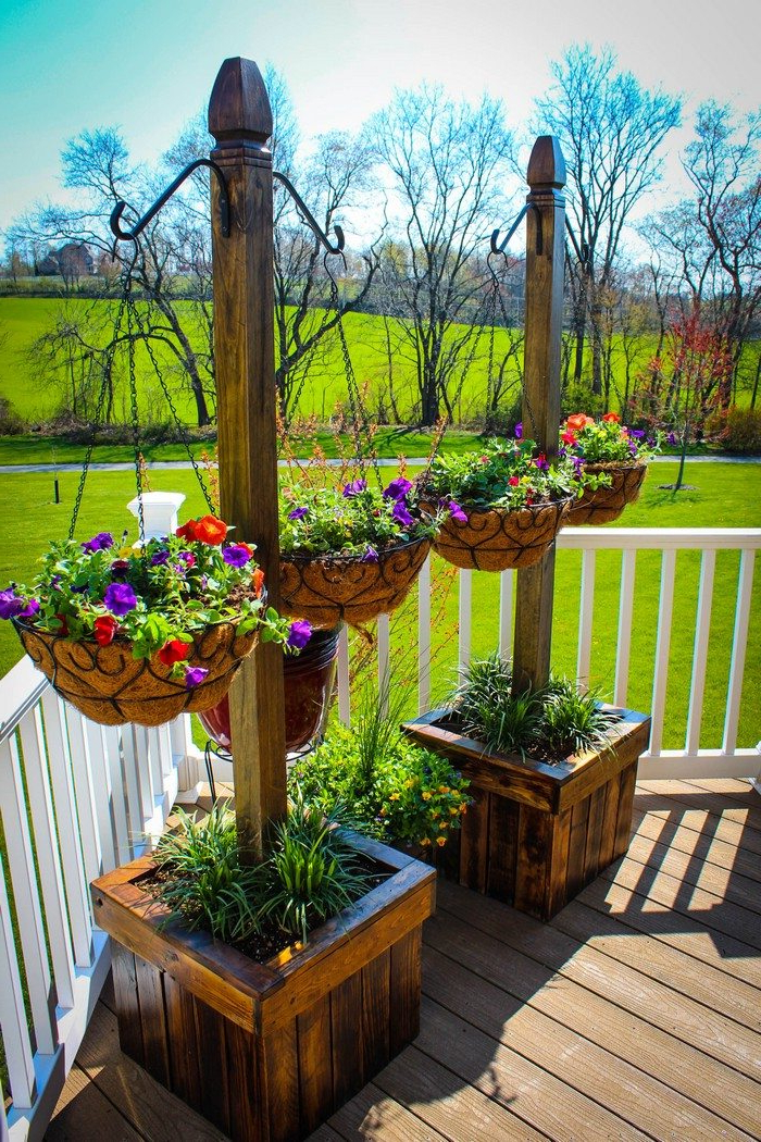 Decorate Your Patio With Pretty Flowers In A Hanging