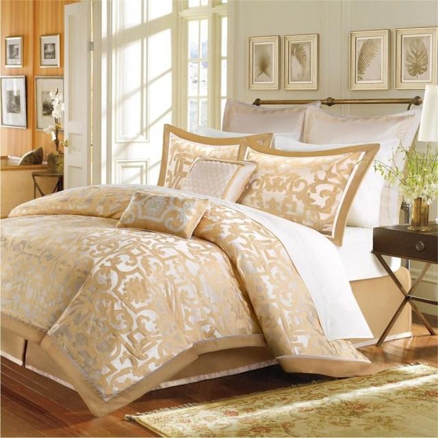 Details About Beautiful Elegant Luxury 8 Pc Gold Beige