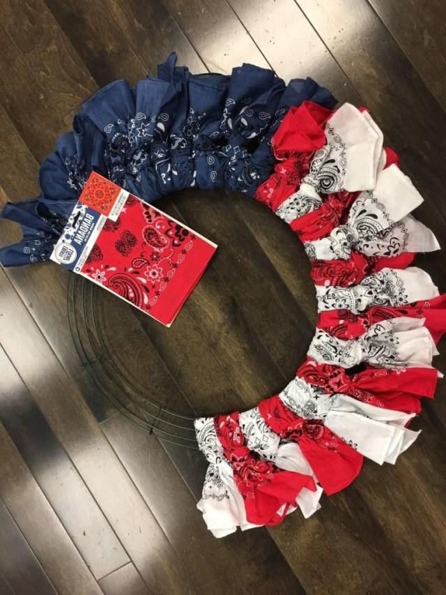 Diy Beautiful Easy Bandana Flag Wreath 4th Of July