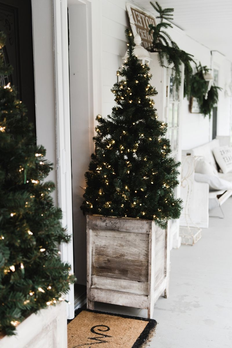 Diy Farmhouse Porch Planter Boxes Modern Christmas Decor