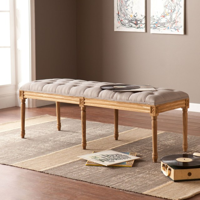 Dove Gray Olivia Tufted Bench Upholstered Bench
