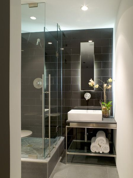Dramatic Tile Bathroom Design Modern Bathroom Design