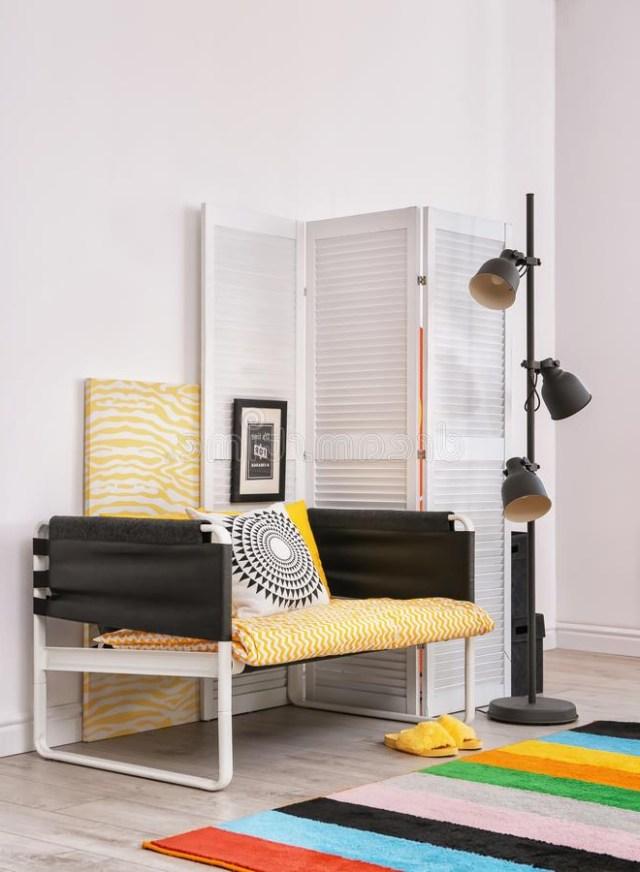 Elegant Living Room Interior With Comfortable Sofa Stock