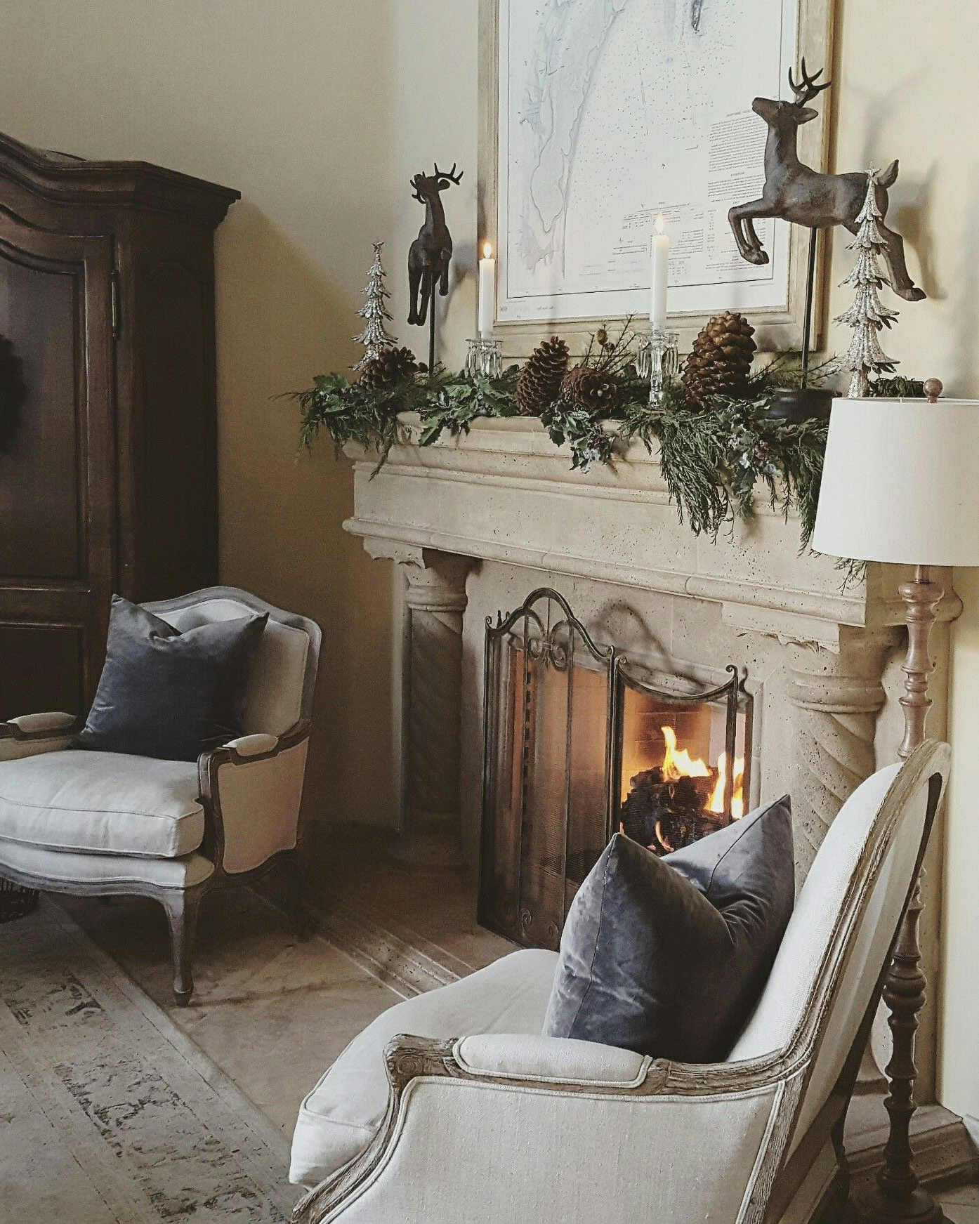 European Farmhouse Christmas Stone Fireplace Christmas