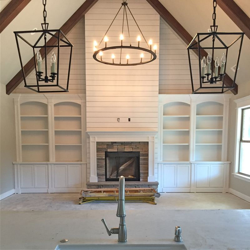 Example Of Built Ins With Shiplap Above And Wood Beams