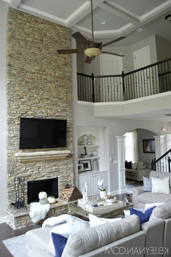 Fall Home Tour Stacked Stone Fireplaces Living Room