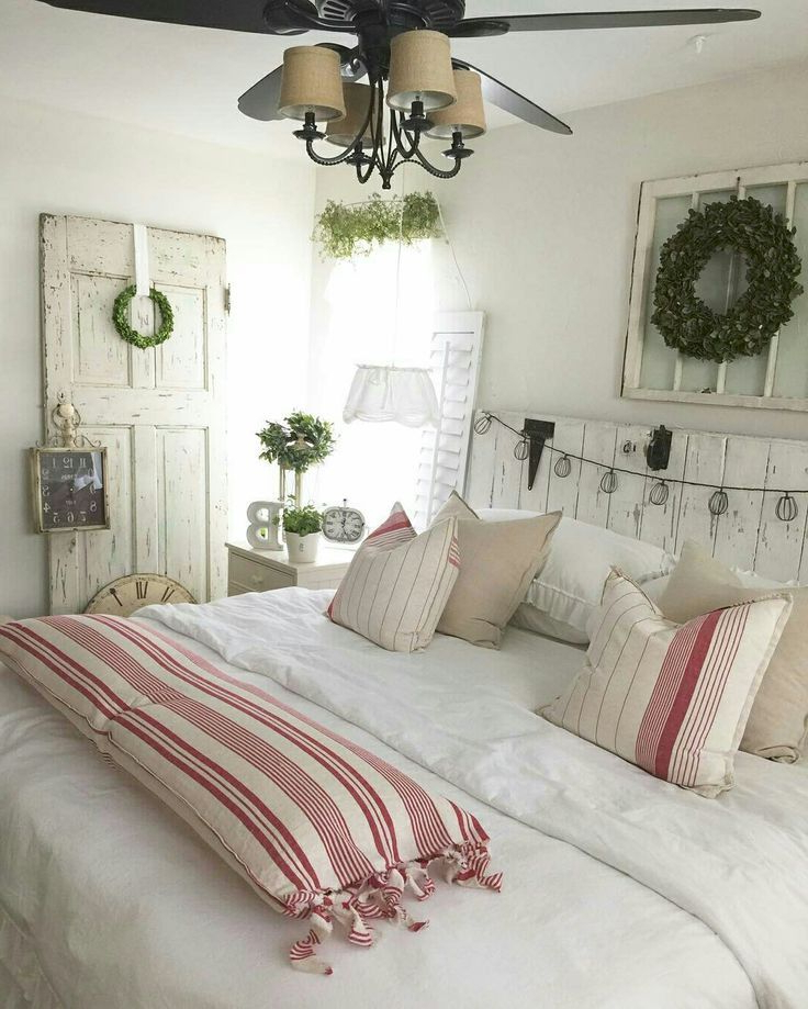 Farmhouse Chic Bedroom With A Touch Of Red With Images