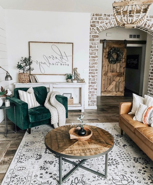 Farmhouse Style Living Room With Faux Brick Wall Shiplap
