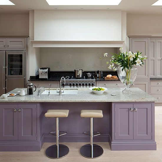 Glamorous Grey And Purple Kitchen With Island Purple