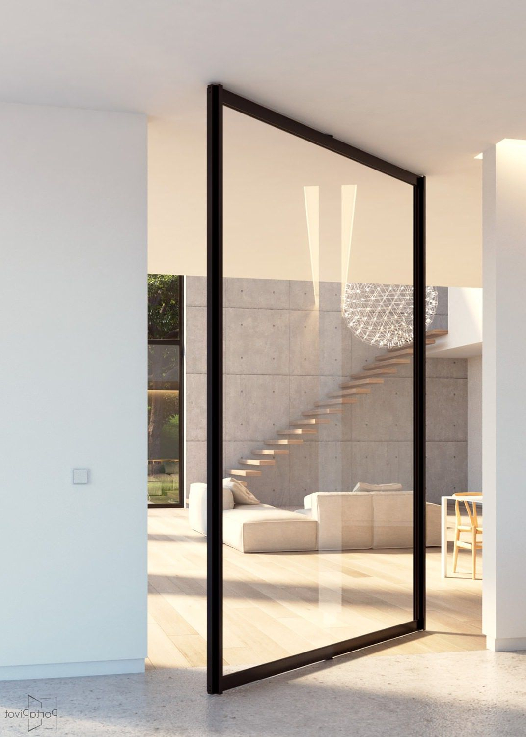 Glass Pivot Door With Central Axis Pivoting Hinge Modern