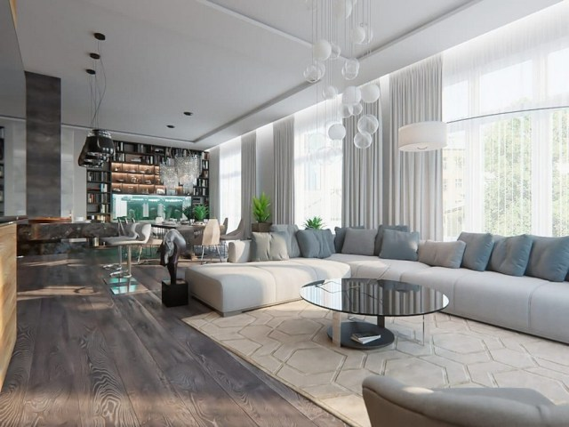 Gorgeous Open Concept Living Room In Contemporary Style