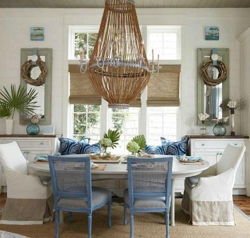 Grand Coastal Beach House In Pastel Blue Sandy Beige