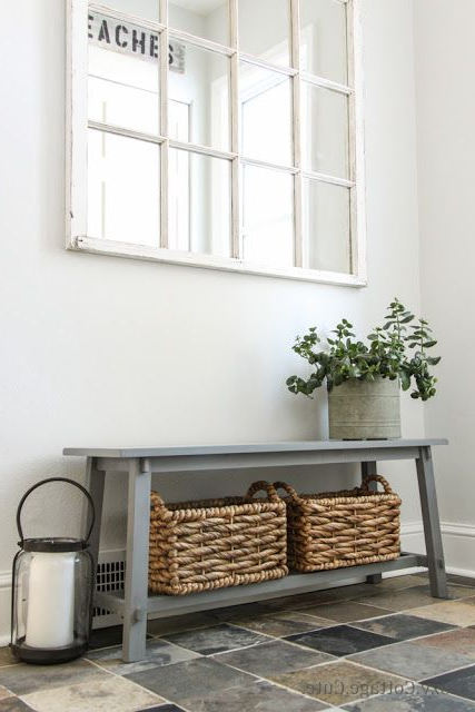 Great Little Entry Bench With Baskets For Storage Love The Stone Floor Entryway Home