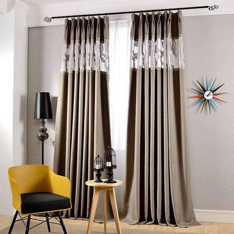 High Quality Cotton And Linen Gray Thick Blackout Curtains