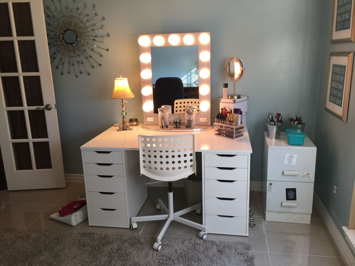 Hollywood Mirror And Ikea Desk Top And Storage Units For