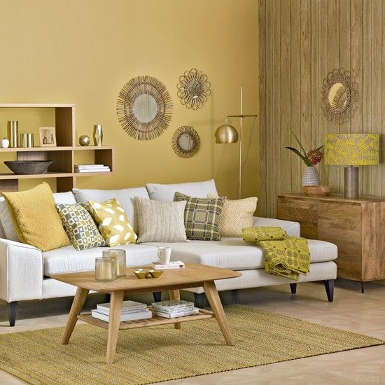 Honeycomb Yellow Living Room With Sunburst Shades Room