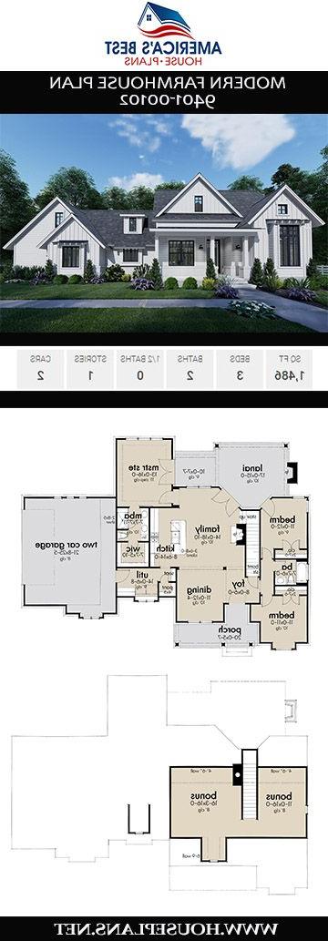 House Plan 9401 00102 Modern Farmhouse Plan 1486
