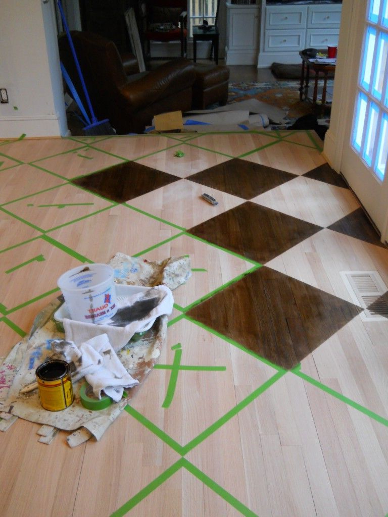 How To Paintstain A Pattern On A Wood Floor Artist