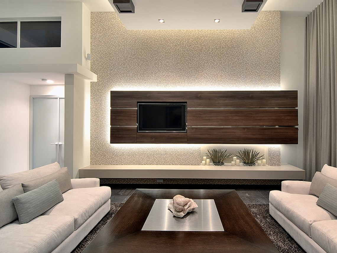 Inset Tv With Long Bench Modern Family Rooms Modern