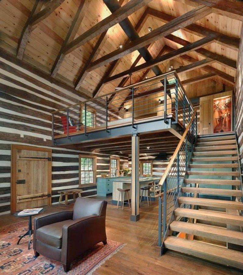 Inspiring Home Interior Cabin Style Design Ideas15 Metal
