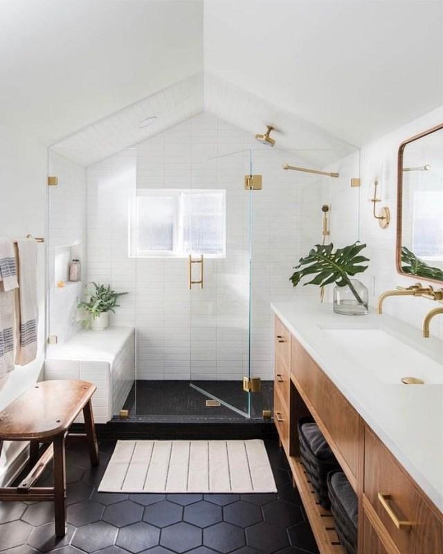 Kate Marker Interiors On Instagram Loving The Natural Wood Vanity Black Hex Floor Tile And