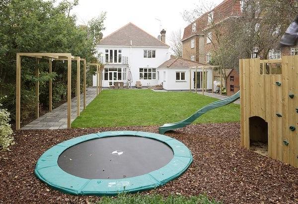 Kid Friendly Yard Space Trampoline Level With Ground