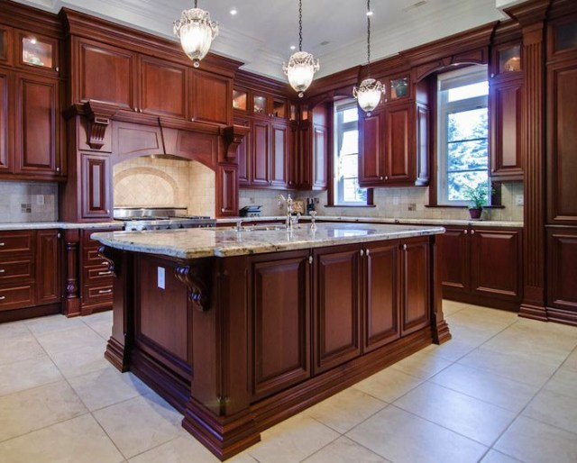 Kitchen Kitchen Design With Carved Wood Corbels