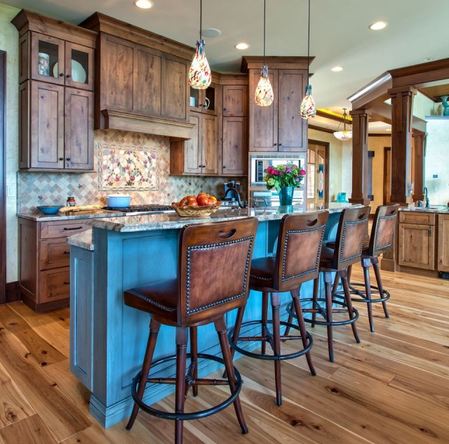Knotty Alder With A Touch Of Blue Rustic Kitchen Island