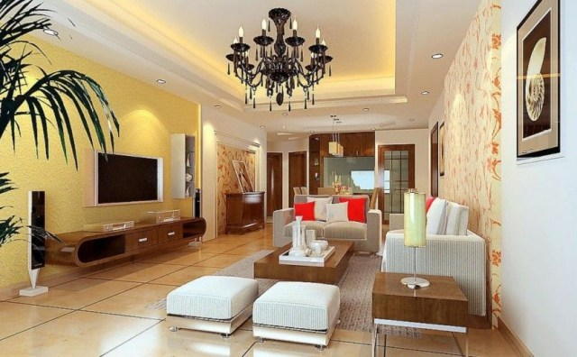 Living Room Interior Decorating Design With Charming Soft