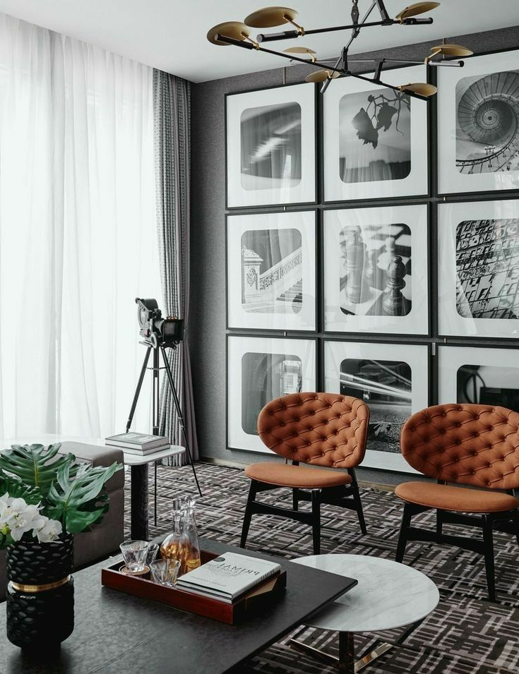 Living Room Masculine Interior Black White Gallery