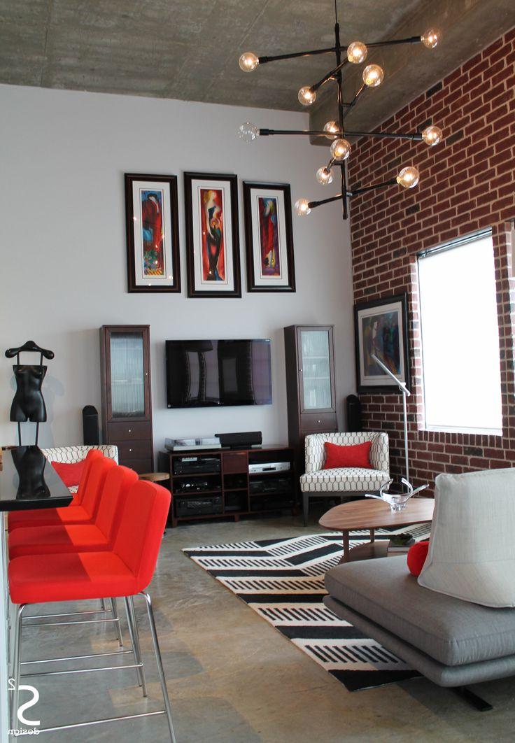 Loft Modern Eliving Room Exposed Brick Wall Black White