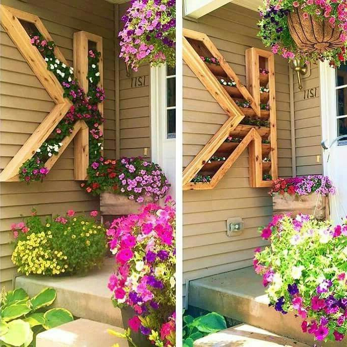 Love This Wood Letter Flower Box Very Cute For A Backyard