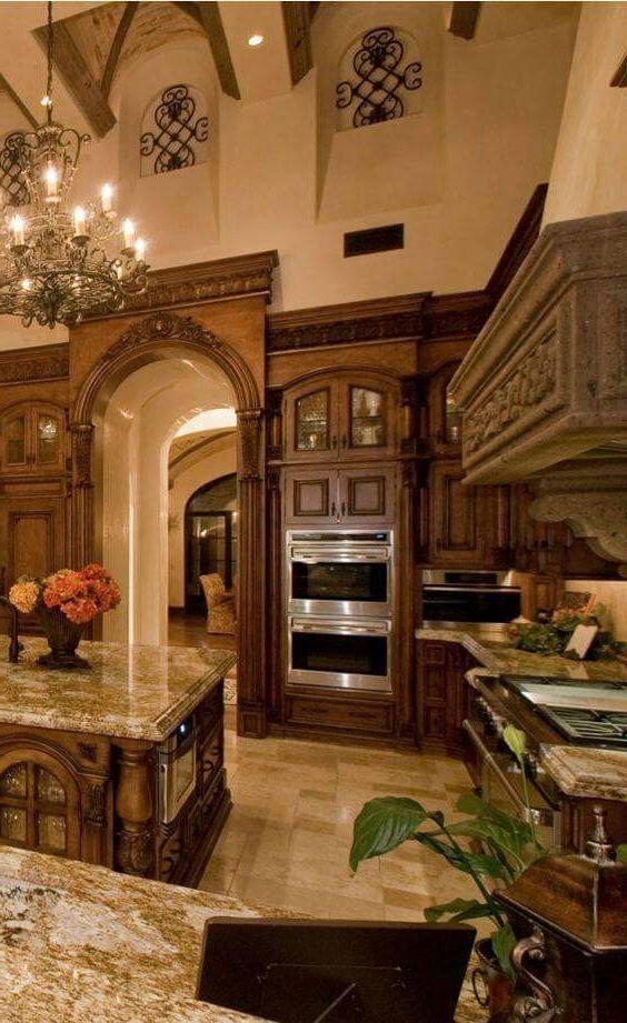 Luxury Mediterranean Kitchen Stained Wood Wall Niches